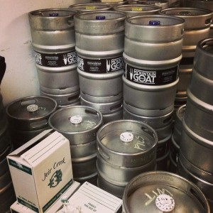 Kegs in the coolroom