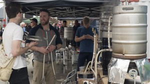 Geoff Swan uses his home-built three-vessel system to brew a barleywine on International Home Brew Day at Westside in May